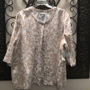 Women's Plus Size 3X White/Beige Lined Jacket Top